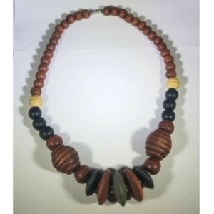 Vintage Multi Color Chunky Wooden Bead Necklace